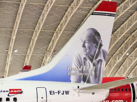 Roald Dahl becomes Norwegian's first ever British tail fin hero