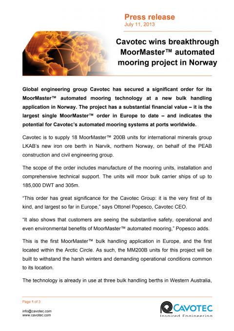 Cavotec wins breakthrough MoorMaster™ automated mooring project in Norway