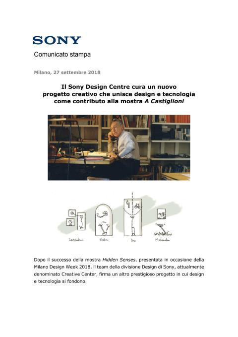 Il Sony Design Centre cura un nuovo  progetto creativo che unisce design e tecnologia  come contributo alla mostra A Castiglioni