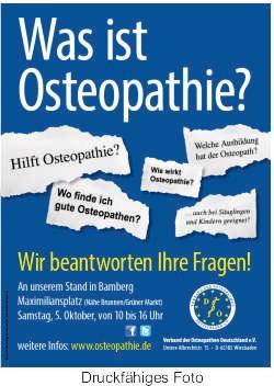 Informationsstand zum Thema Osteopathie in Bamberg