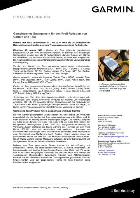 Gemeinsames Engagement für den Profi-Radsport von Garmin und Tacx