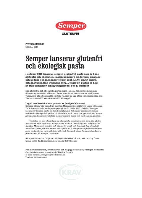 Semper lanserar glutenfri och ekologisk pasta