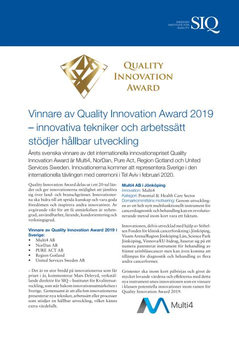 Quality Innovation Award 2019
