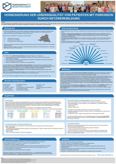 Poster Parkinsonnetz Münsterland+: Verbesserung der Lebensqualität von Patienten mit Parkinson durch Netzwerkbildung