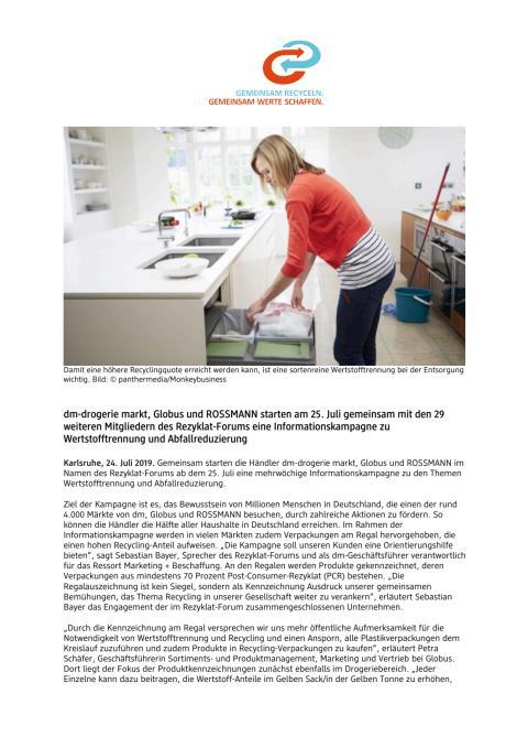 dm, Globus und ROSSMANN starten am 25. Juli Informationskampagne zu Wertstofftrennung und Abfallreduzierung