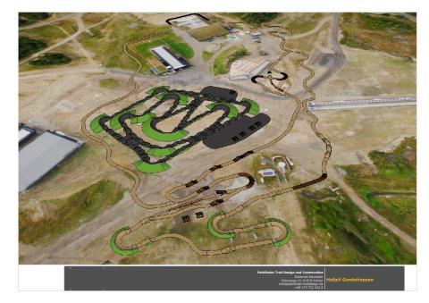 Foreløpig plan på hvordan Pump Track og barneløypa på Mosetertoppen vil se ut.