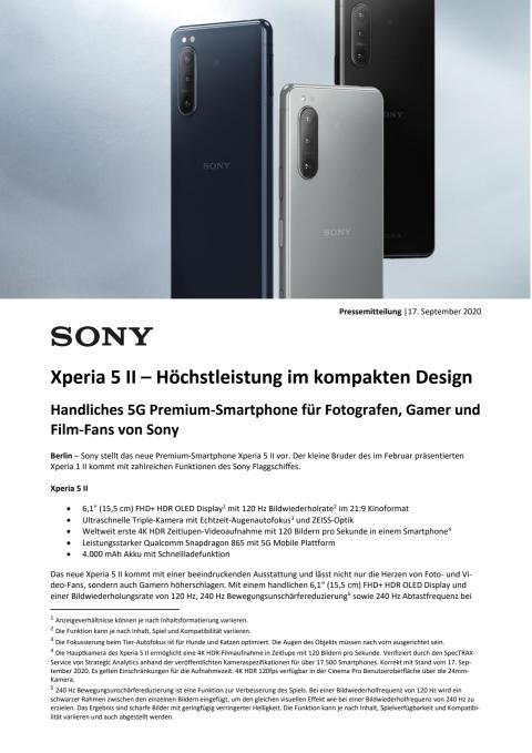 Sony Pressemitteilung - Sony stellt das Xperia 5 II vor