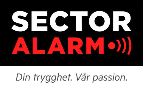 Sector Alarm logo med varumärkeslöfte