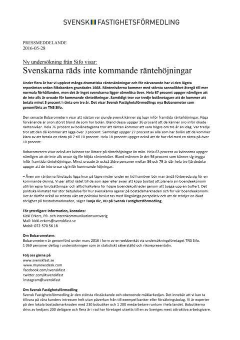 Ny undersökning från Sifo visar:  Svenskarna räds inte kommande räntehöjningar