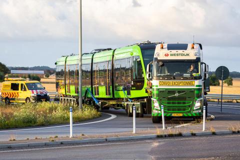 Lunds första spårvagn anlände i morse