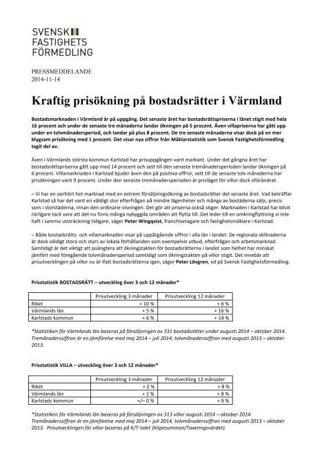 Kraftig prisökning på bostadsrätter i Värmland