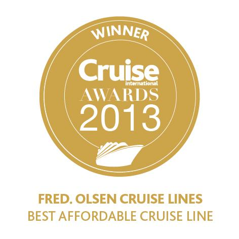 Fred. Olsen Cruise Lines is voted 'Best Affordable Cruise Line', for the second year running, at the 2013 'Cruise International Awards'