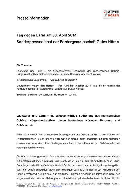 Tag gegen Lärm am 30. April 2014 – Sonderpressedienst der Fördergemeinschaft Gutes Hören