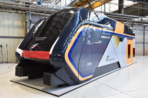 "A 1:1 model of the new ""Rock"" double-deck regional trains for Trenitalia (formerly Caravaggio)"