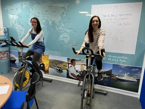 Fred. Olsen staff walk, run, swim and cycle distance to Norway head office to raise funds for East Anglia's Children's Hospices' EACH Mile Counts campaign