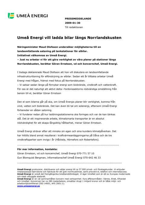 Umeå Energi vill ladda bilar längs Norrlandskusten
