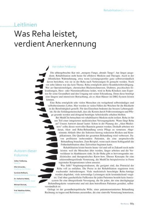 """""""Was Reha leistet, verdient Anerkennung"""": Kolumne von Volker Feldkamp im f&w-Magazin"""