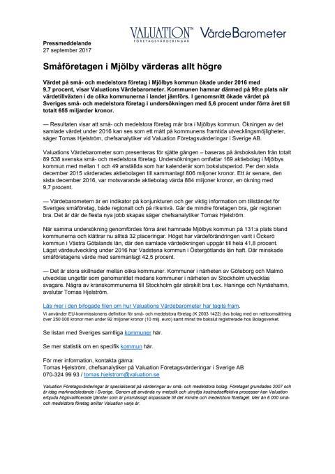 Värdebarometern 2017 Mjölbys kommun