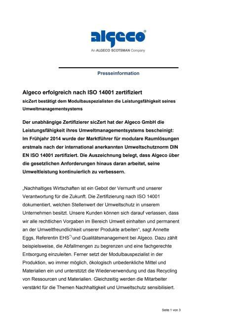 Algeco erfolgreich nach ISO 14001 zertifiziert