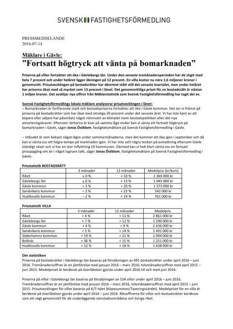 """Mäklare i Gävle: """"Fortsatt högtryck att vänta på bomarknaden"""""""