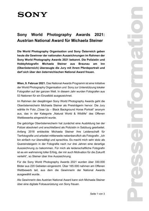 Sony World Photography Awards 2021: Austrian National Award für Michaela Steiner