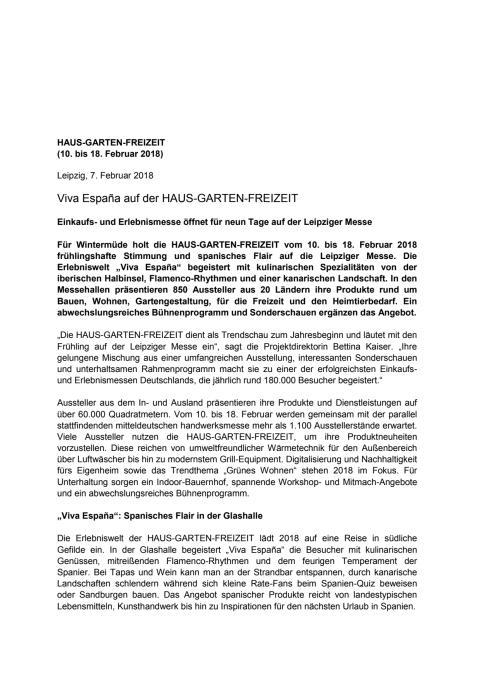 Pressemitteilung der Leipziger Messe GmbH - Haus-Garten-Freizeit