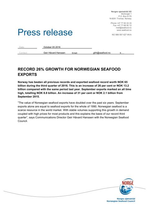 Record 26 per cent growth for Norwegian Seafood Exports