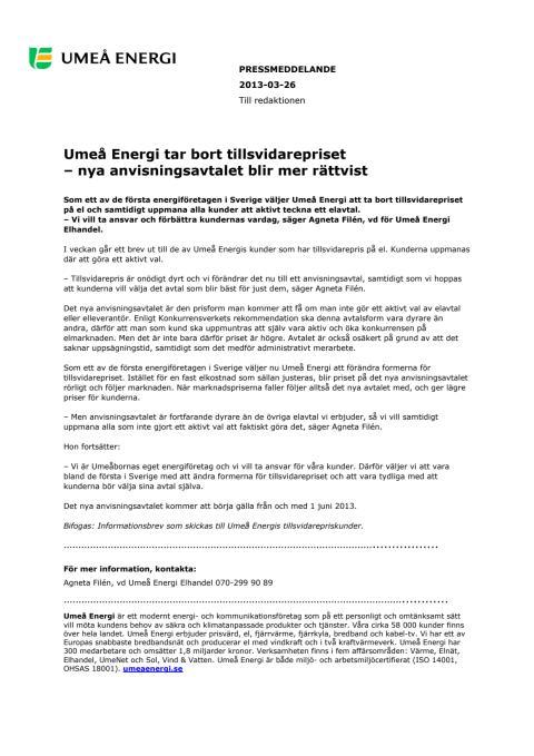 Umeå Energi tar bort tillsvidarepriset - nya anvisningsavtalet blir mer rättvist