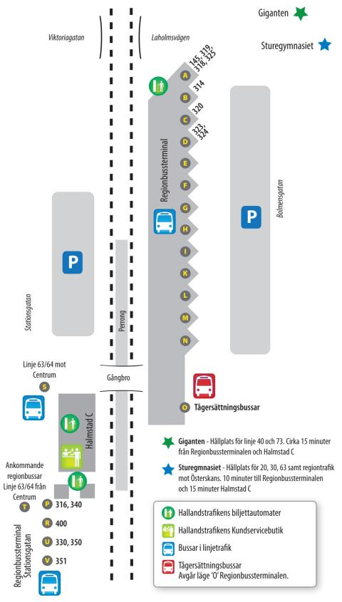 halmstad regionbussterminal karta Halmstad Regionbussterminal augusti 2016   Hallandstrafiken AB halmstad regionbussterminal karta
