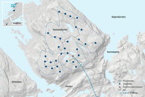 Faktaark-kart Harbaksfjellet-vindpark-NO