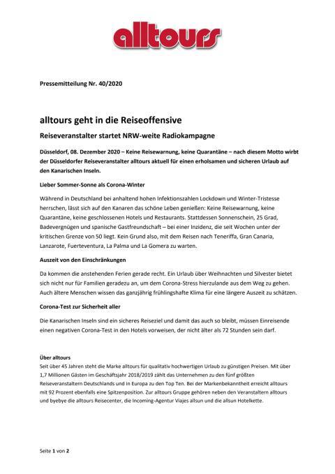 alltours geht in die Reiseoffensive - Reiseveranstalter startet NRW-weite Radiokampagne