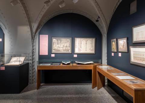 """Fra utstillingen """"Wilhelm von Hanno. Arkitekt og tegner i Chrstiania"""" i Hvelvet i Nasjonalmuseet -Arkitektur."""