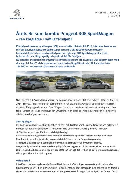 Sverigepremiär för nya Peugeot 308 SportWagon