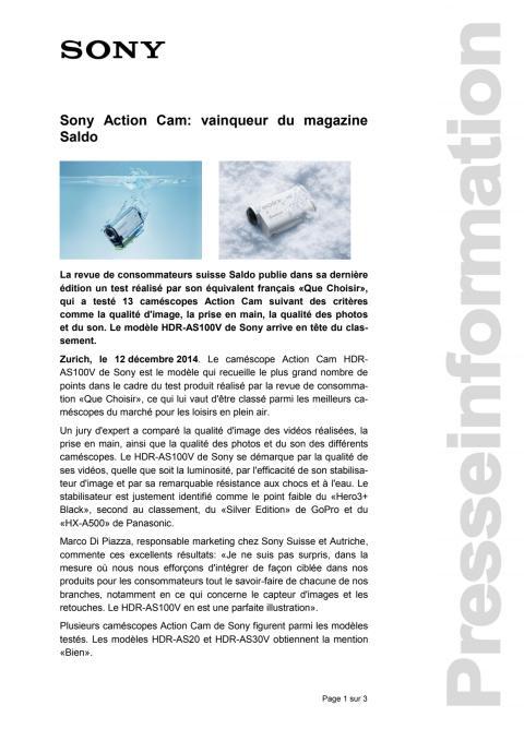 Communicatio de presse_ Vainquer du magazine Saldo Action Cam HDR-AS100V_F-CH_141212