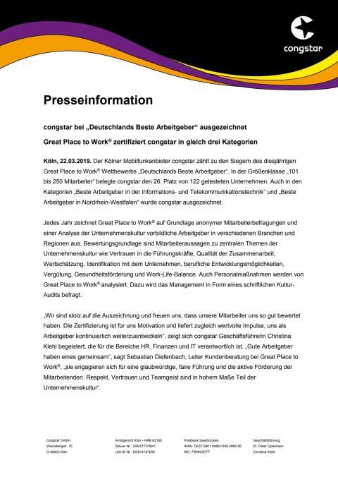 """congstar bei """"Deutschlands Beste Arbeitgeber"""" ausgezeichnet"""