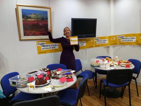 Fred. Olsen staff eat cake and give generously for the Cystic Fibrosis Trust...to raise an impressive £153.50!