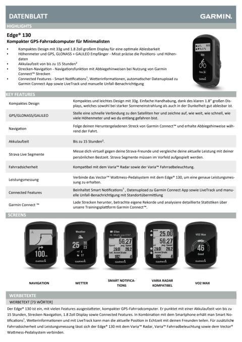 Datenblatt Garmin Edge 130