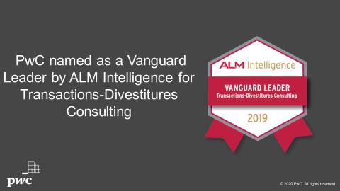 PwC Named by ALM Intelligence as a Leader in Transactions-Divestitures Consulting for third consecutive year