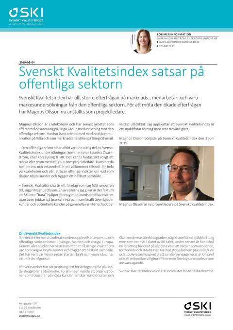 Svenskt Kvalitetsindex satsar på offentliga sektorn