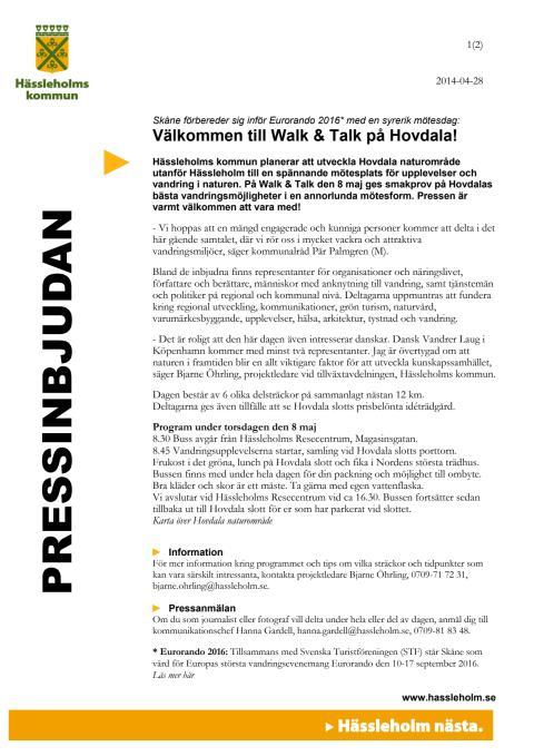 Välkommen till Walk & Talk på Hovdala!