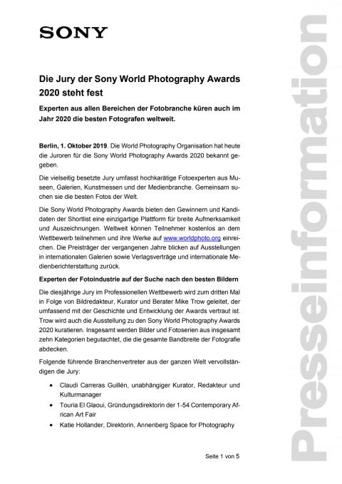 Die Jury der Sony World Photography Awards 2020 steht fest