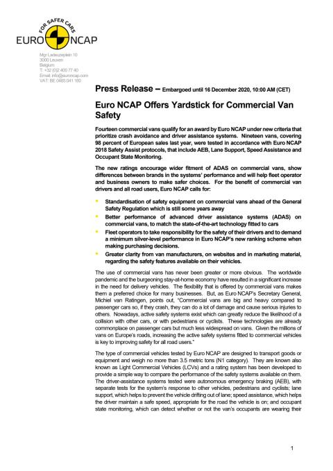 Euro NCAP Commercial Van Testing press release