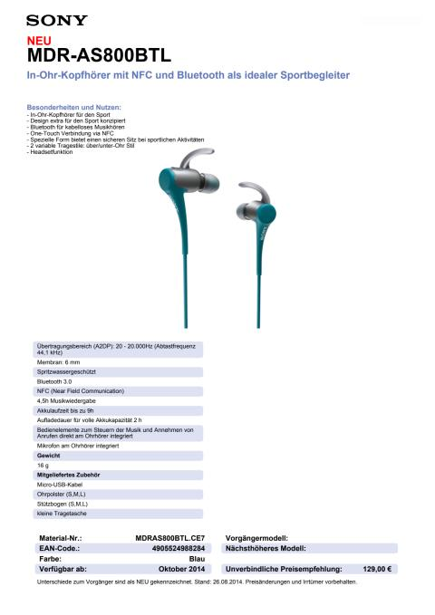 Datenblatt MDR-AS800BTL von Sony