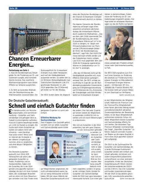 Submissions-Anzeiger vom 24. Februar 2016
