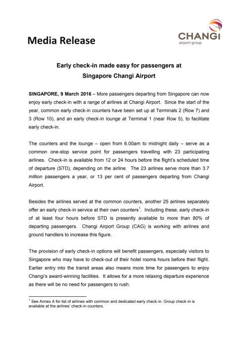 Early check-in made easy for passengers at Singapore Changi Airport
