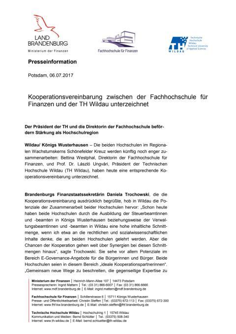 Kooperation zwischen der TH Wildau und der Fachhochschule für Finanzen