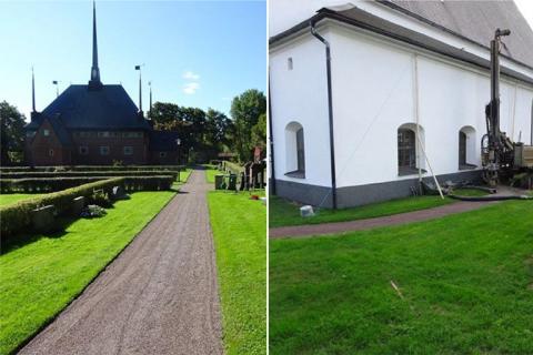 Bergvärme och frekvensstyrda pumpar värmer två kyrkor i Dalarna