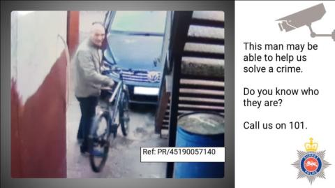 Can you help us identify this man in connection with a bike theft in Claygate?