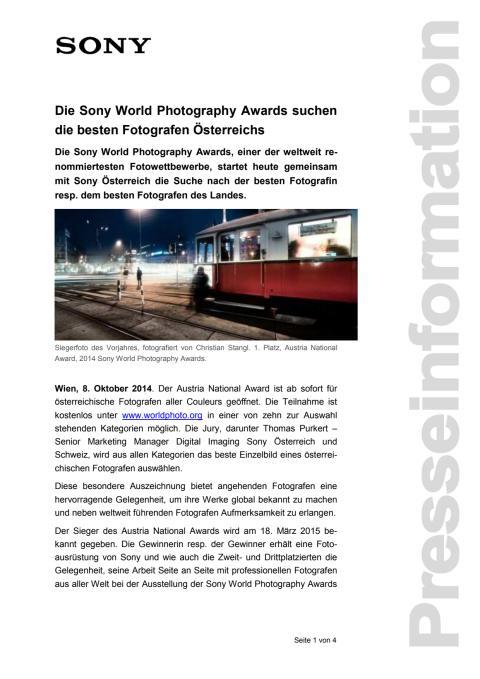 """Pressemitteilung """"Die Sony World Photography Awards suchen die besten Fotografen Österreichs"""""""