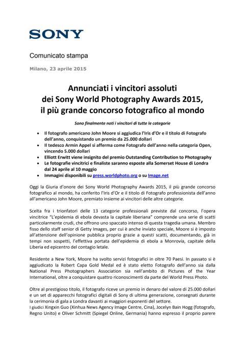 Annunciati i vincitori assoluti dei Sony World Photography Awards 2015, il più grande concorso fotografico al mondo
